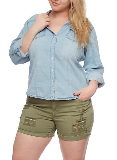 Plus Size Button Front Denim Shirt,MEDIUM WASH,large