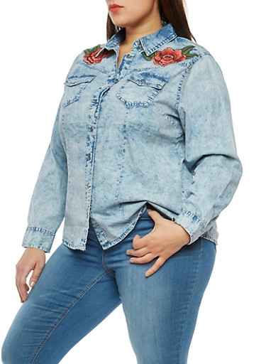 Plus Size Acid Wash Floral Embroidered Shirt,LIGHT WASH,large