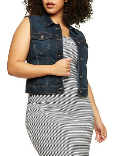 Plus Size Wax Jean Button Up Vest,DARK WASH,large