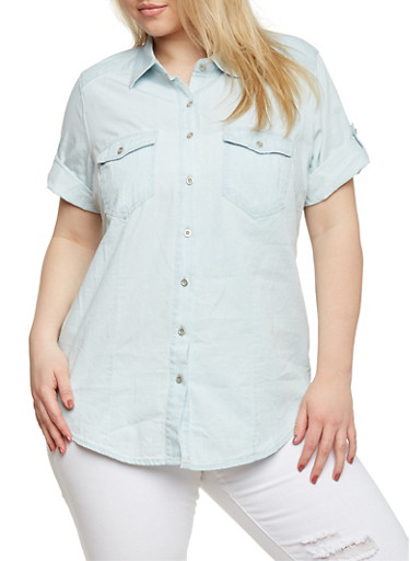 Plus Size Denim Button Front Top with Tabbed Short Sleeves,LIGHT WASH,large