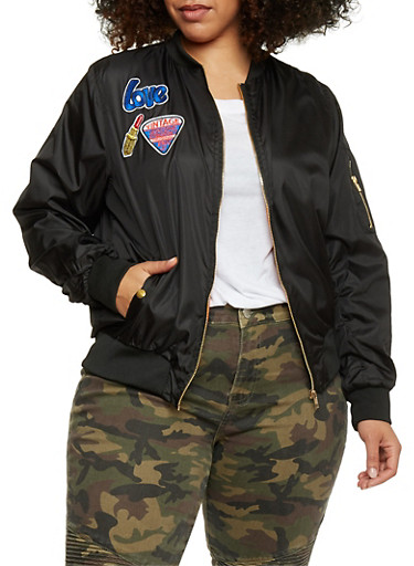 Plus Size Lined Bomber Jacket with Patches,BLACK,large