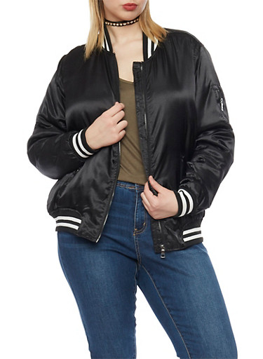 Plus Size Satin Bomber Jacket with Striped Trim,BLACK,large