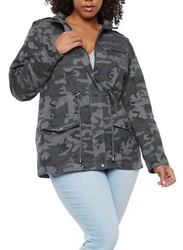 Plus Size Camo Drawstring Anorak Jacket,HEATHER,large
