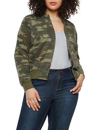 Plus Size Camo Twill Bomber Jacket,OLIVE,large