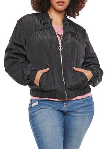 Plus Size Ruched Zip Up Bomber Jacket,BLACK,large