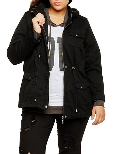 Plus Size Drawstring Waist Twill Hooded Anorak Jacket,BLACK,large