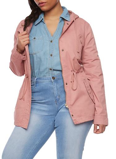 Plus Size Hooded Anorak Jacket with Drawstring,MAUVE,large