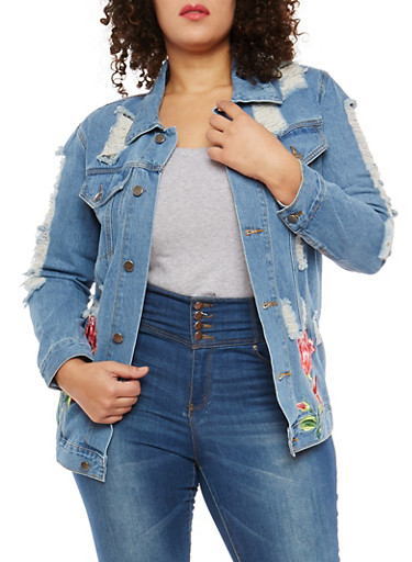 Plus Size Distressed Floral Embroidered Denim Jacket,BLUE,large