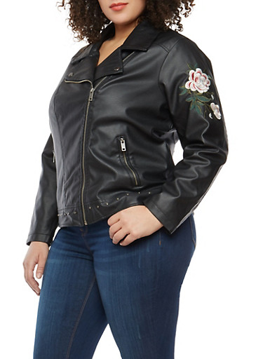Plus Size Embroidered Sleeve Faux Leather Jacket,BLACK,large