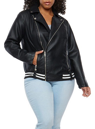 Plus Size Faux Leather Ribbed Knit Trim Moto Jacket,BLACK,large