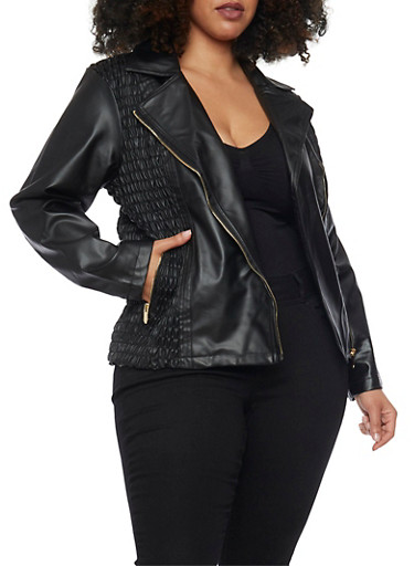 Plus Size Faux Leather Moto Jacket with Smocked Panels - Rainbow