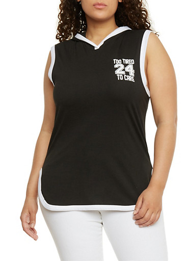Plus Size Sleeveless Hooded Too Tired to Care Graphic Top,BLACK-WHITE,large