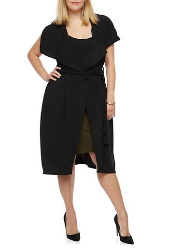 Plus Size Tie Waist Duster,BLACK,large