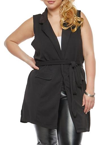 Plus Size Sleeveless Tie Waist Knit Cardigan,BLACK,large