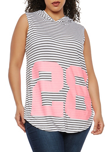 Plus Size Striped Graphic Hooded Tunic Top,WHITE,large