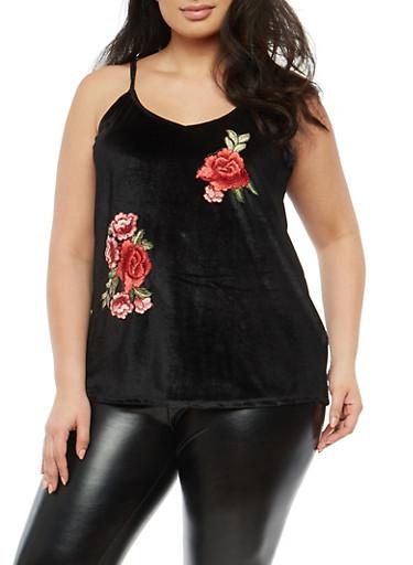 Plus Size Floral Applique Velvet Top,BLACK,large