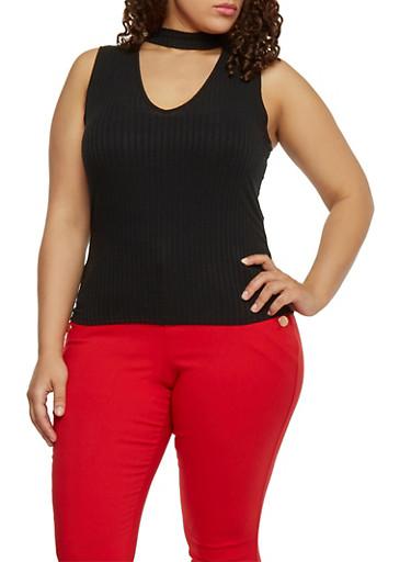 Plus Size Sleeveless Rib Knit Keyhole Choker Top,BLACK,large