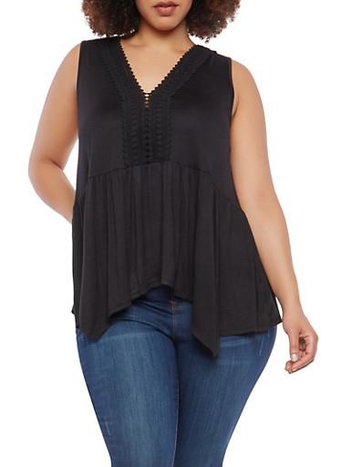 Plus Size Crochet Neckline Detail Top,BLACK,large