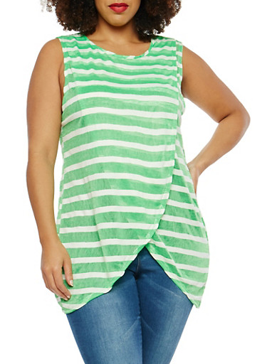 Plus Size Striped Petal Hem Top,WHITE-GRN,large