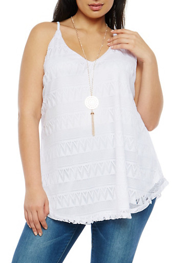 Plus Size Crochet Tunic Tank Top with Necklace,WHITE,large