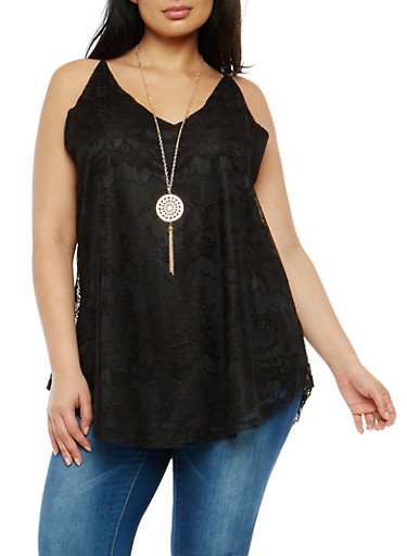 Plus Size Crochet Tunic Top with Necklace,BLACK,large