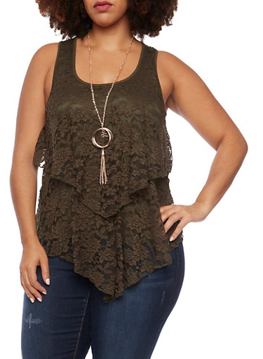 Plus Size Lace Front Tank Top with Necklace,OLIVE,large