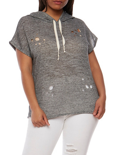 Plus Size Lasercut French Terry Hoodie,BLACK,large