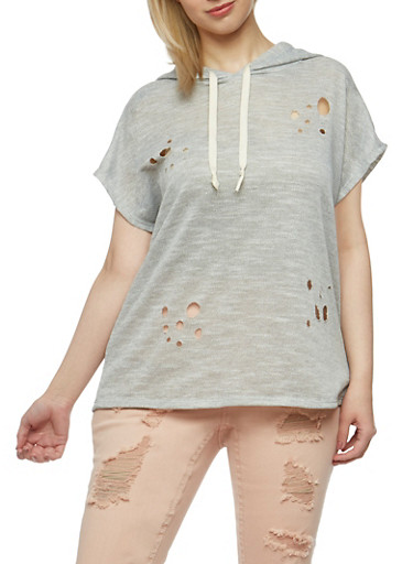 Plus Size Lasercut French Terry Hoodie,HEATHER GREY,large