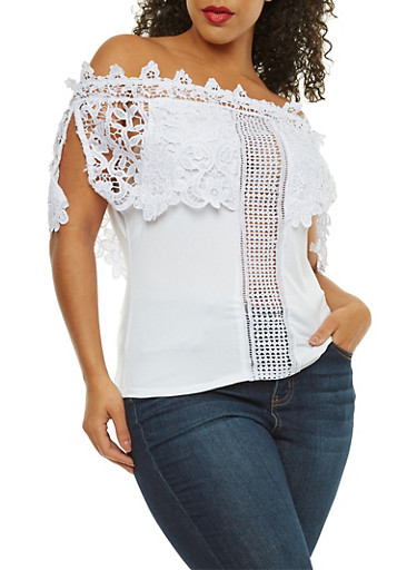 Plus Size Off the Shoulder Top with Crochet Detail,WHITE,large