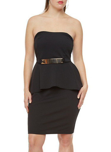 Plus Size Peplum Dress with Metallic Waist Bar,BLACK,large