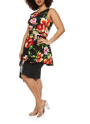 Plus Size Textured Knit Floral Asymmetrical Top,RED,large
