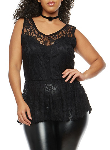 Plus Size Lace Peplum Top with Choker,BLACK,large