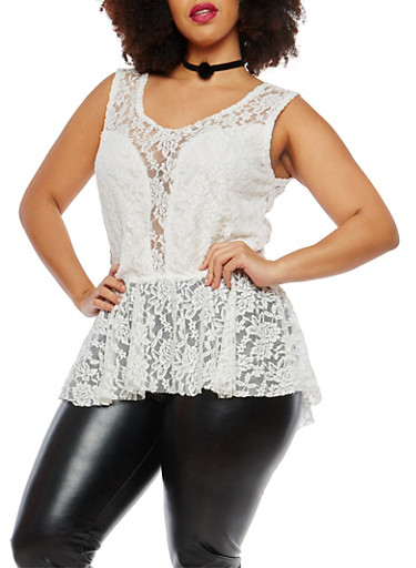 Plus Size Lace Peplum Top with Choker,WHITE,large
