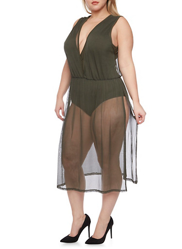 Plus Size Bodysuit with Long Mesh Overlay,HUNTER,large