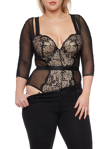 Plus Size Mesh and Lace Bodysuit,BLACK,large