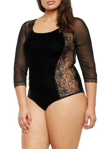 Plus Size Velvet and Lace Bodysuit with Lace Up Back,BLACK,large