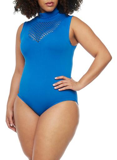 Plus Size Sleeveless Laser Cut Yoke Bodysuit,RYL BLUE (2945C PANTONE),large