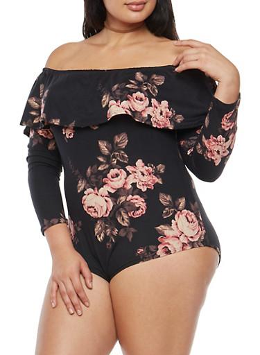 Plus Size Off the Shoulder Rose Print Bodysuit,BLACK,large