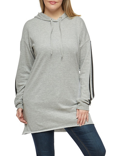 Plus Size Athletic Striped Tunic Sweatshirt,GRAY,large