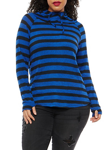 Plus Size Stripe Hooded Sweater,BLUE,large