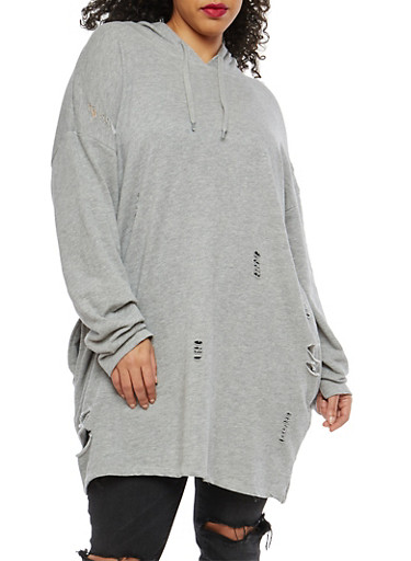 Plus Size Distressed Long Sweatshirt,HEATHER,large
