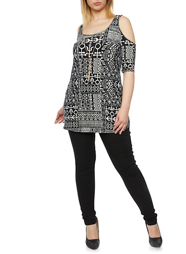 Plus Size Cold Shoulder Tunic Printed Top with Necklace,BLACK/WHITE,large