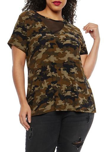 Plus Size Mesh Insert Camo T Shirt,OLIVE,large