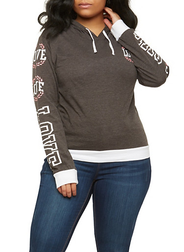 Plus Size Love Graphic Pullover Hoodie,CHARCOAL,large