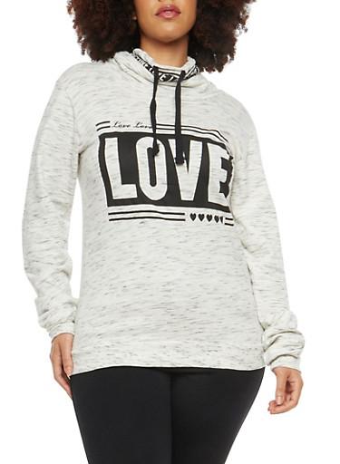 Plus Size Love Graphic Cowl Neck Sweatshirt,OATMEAL,large