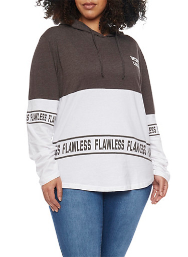 Plus Size Hooded Color Block Long Sleeve Graphic Top,CHARCOAL-WHITE,large