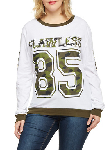 Plus Size Long Sleeve Top with Camo Flawless Print,WHITE,large