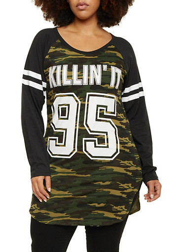 Plus Size Raglan Sleeve Camo Top with Killin It Graphic,OLIVE,large
