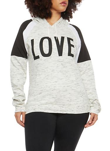 Plus Size Love Graphic Hooded Sweatshirt,OATMEAL,large