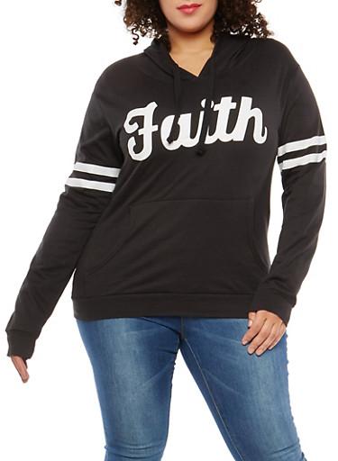 Plus Size Faith Graphic Hooded Sweatshirt,BLACK,large